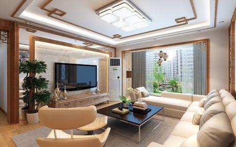 龙湾国际新中式风格三居室效果