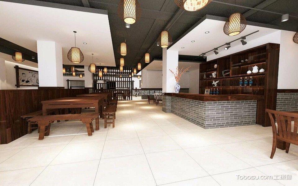 新中式餐饮店地板装修效果图