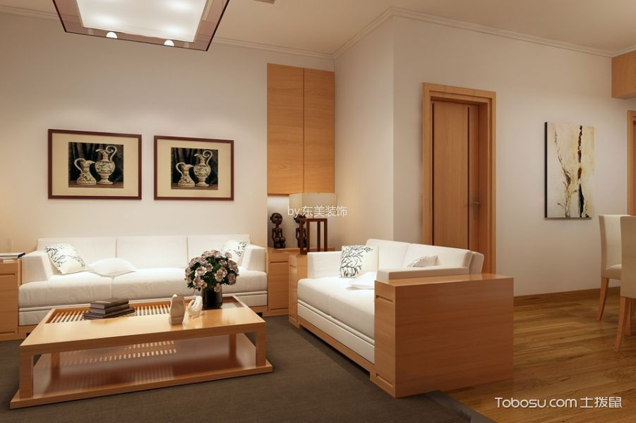 客厅白色背景墙日式风格装饰效果图