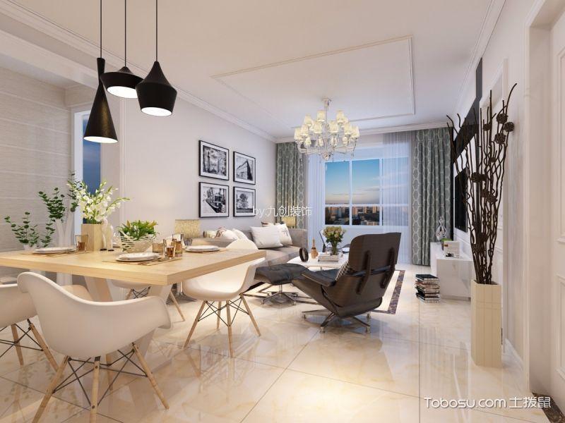 宝湖天下米色90平米现代简约三室两厅装修效果图