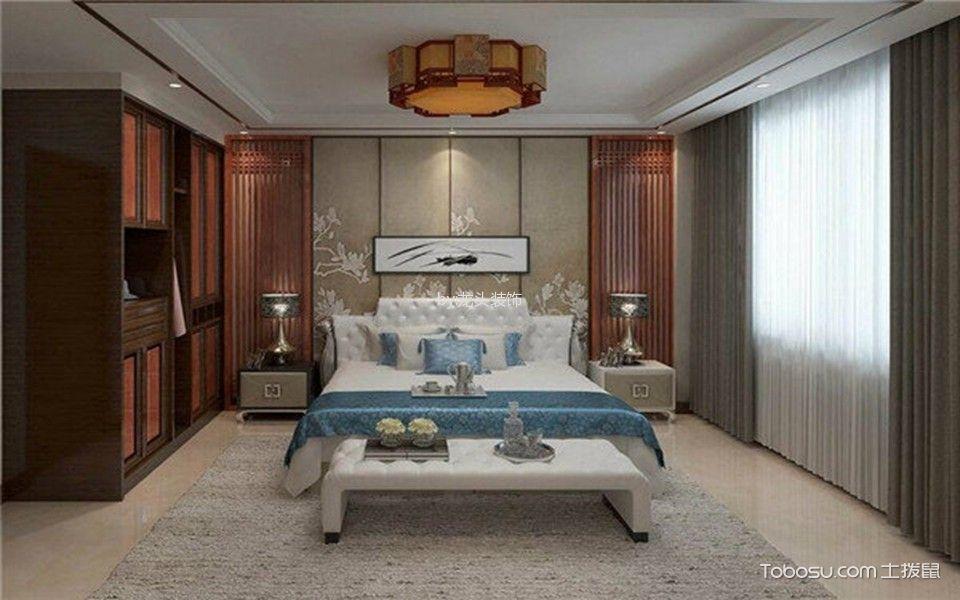 卧室咖啡色衣柜中式风格效果图