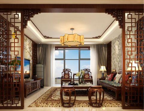客厅隔断新中式风格装潢设计图片