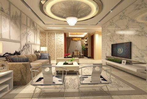 东方曼哈顿三室白色新中式装修效果图