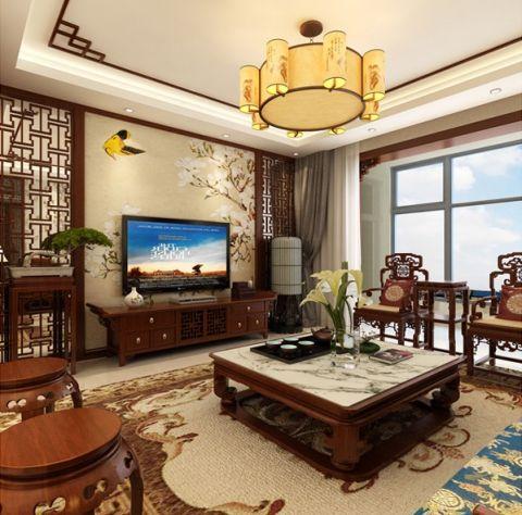 客厅窗帘新中式风格装潢设计图片