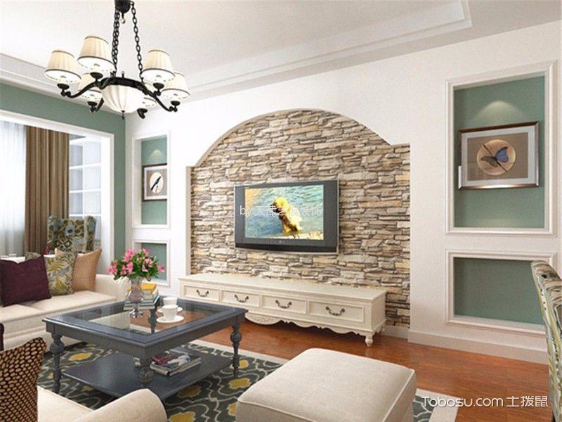 客厅 吊顶_社会山美式乡村风格装修效果图图片