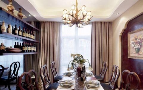 餐厅吊顶混搭风格效果图