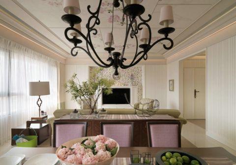 美式厨房窗帘装潢实景图片