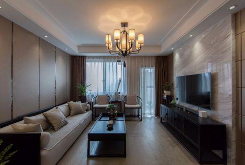 2021现代中式150平米效果图 2021现代中式三居室装修设计图片