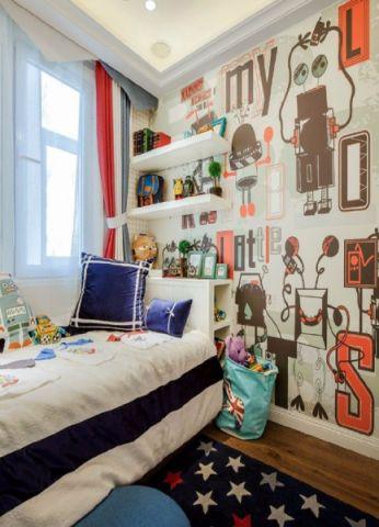 儿童房背景墙简欧风格装修设计图片