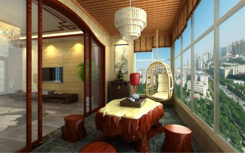 阳台中式风格效果图