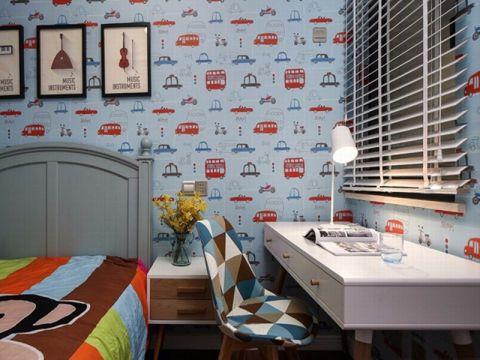 儿童房背景墙美式风格装潢效果图