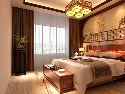 卧室背景墙中式风格装修图片