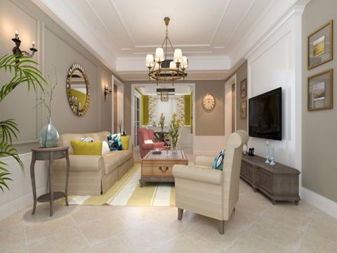 客厅背景墙美式风格装潢效果图