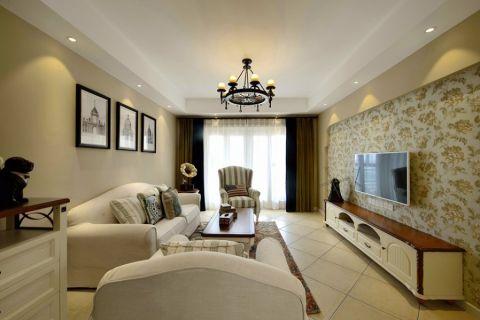 西西湖美式风格三居室效果图