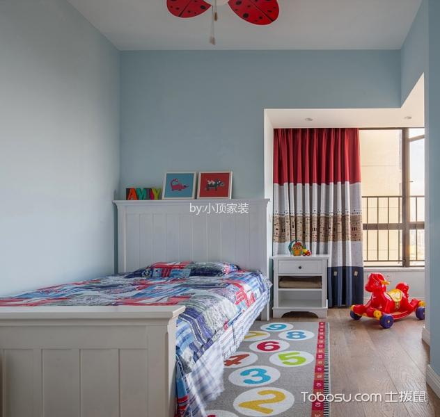儿童房彩色窗帘现代简约风格效果图
