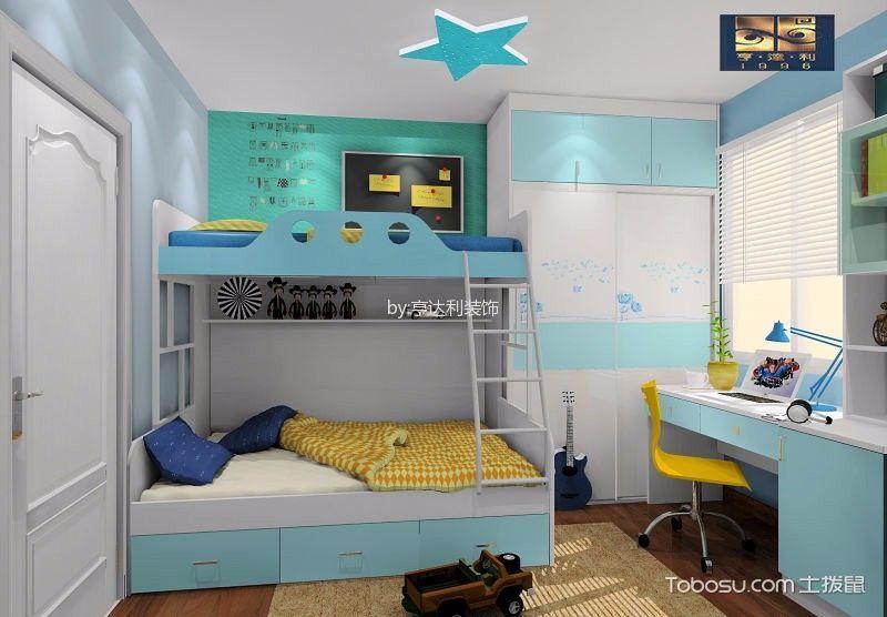 儿童房蓝色床新中式风格装饰效果图