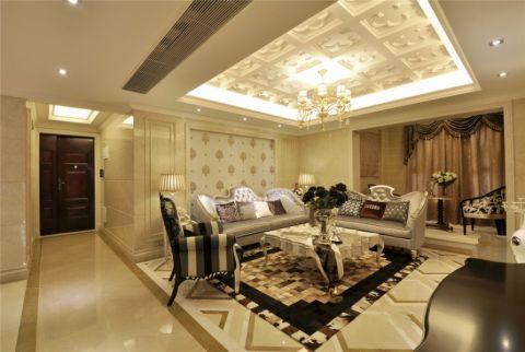莱蒙时代130平米欧式风格三室两厅装修效果图