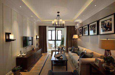 众安理想湾美式风格三居室效果图