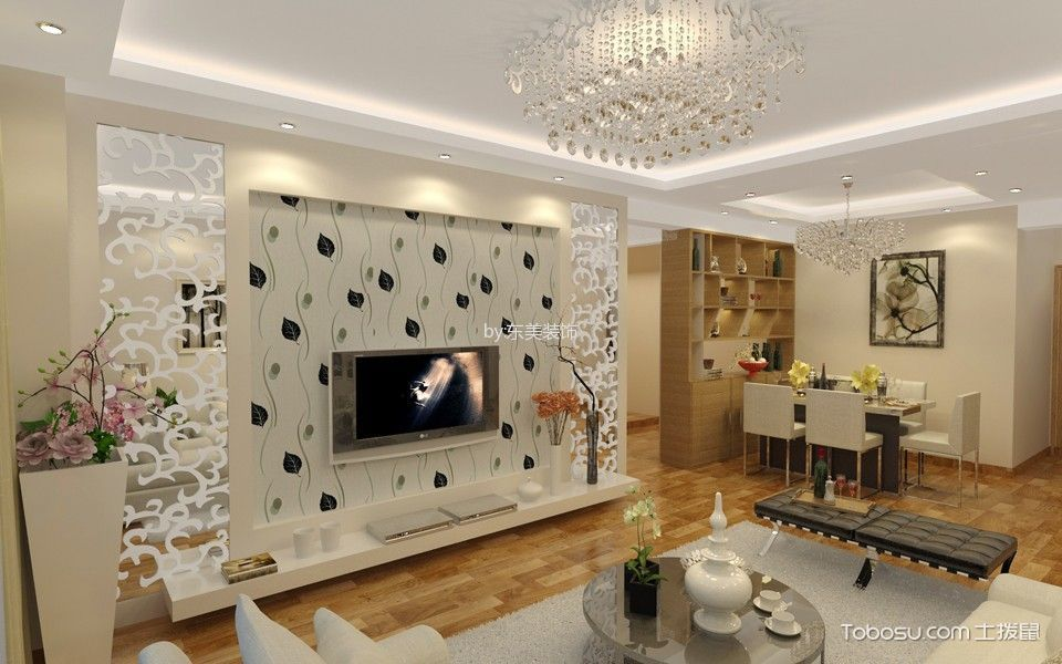 客厅白色电视柜简约风格装修效果图