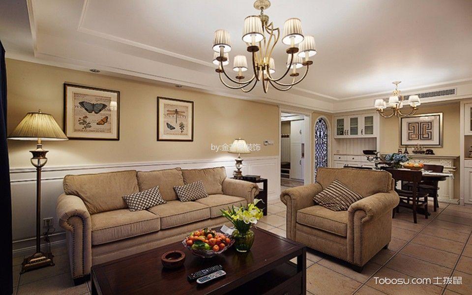 威高花园135平米美式风格三房两厅装修效果图