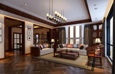 深圳南山花园城140平米中式风格复式装修效果图