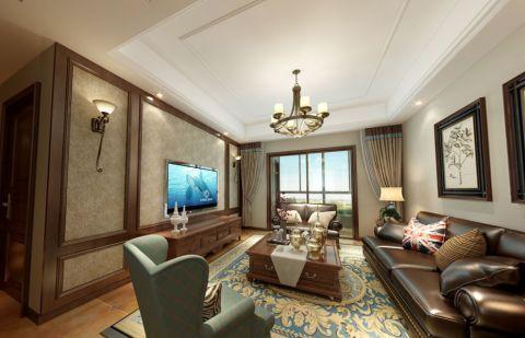 中海国际130平米美式三房两厅装修效果图
