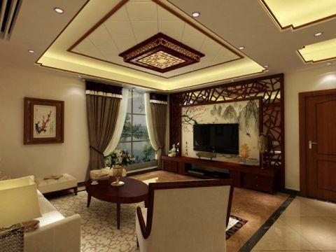 发展红星黄色148平米新中式三室两厅装修效果图