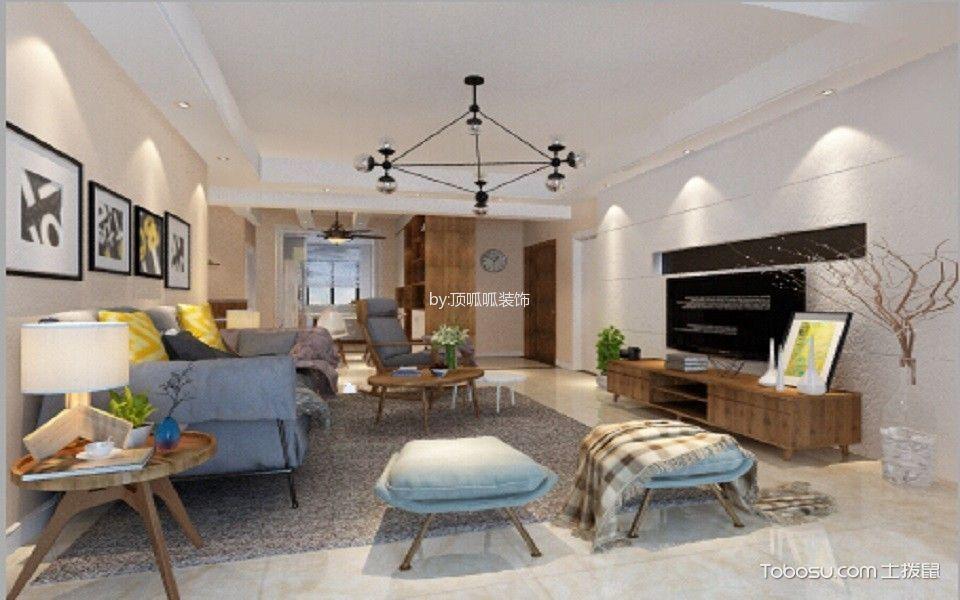 九州花园米色130平米北欧风格三室两厅装修效果图