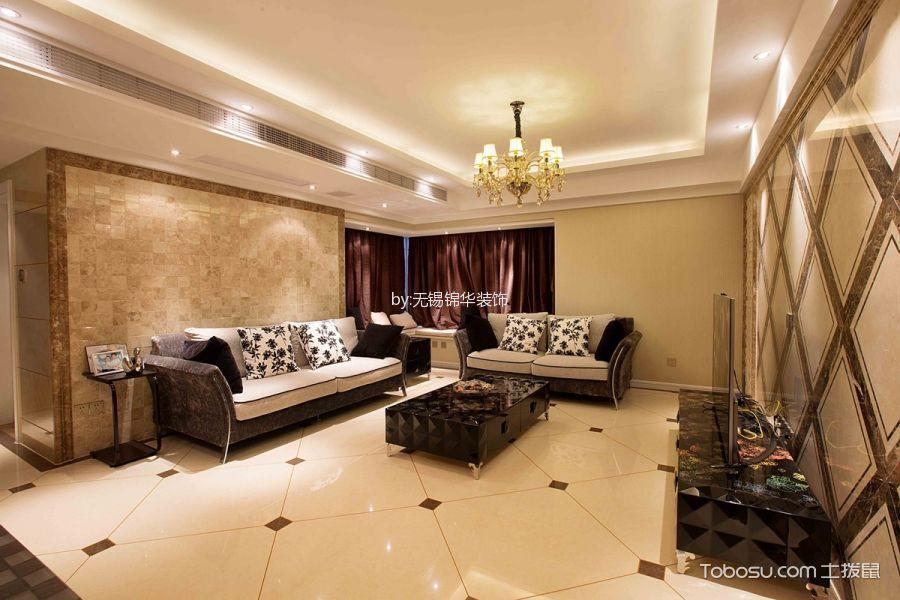 集景家园米色130平米欧式风格三室一厅实景样板间装修效果图