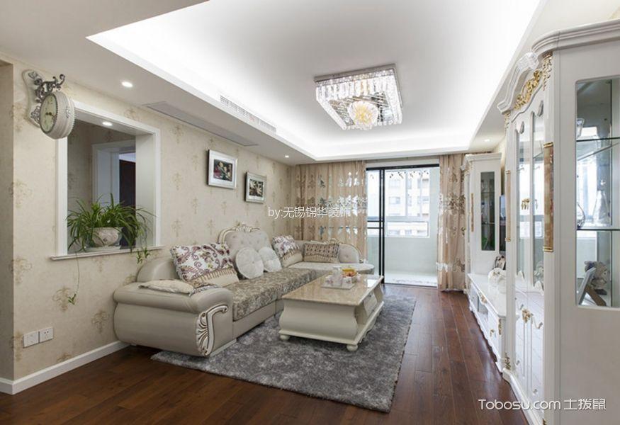 吉祥国际花园米色105平米简欧风格两室一厅实景装修效果图