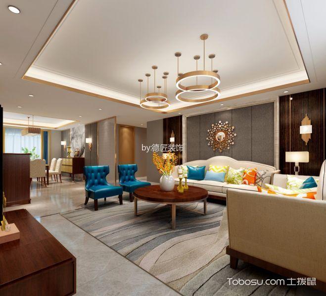 南熙福邸米色20—180平米简约风格三室两厅装修效果图