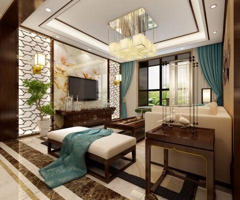 郑州恒一雅居米色120平米—180平米新中式三室两厅装修效果图
