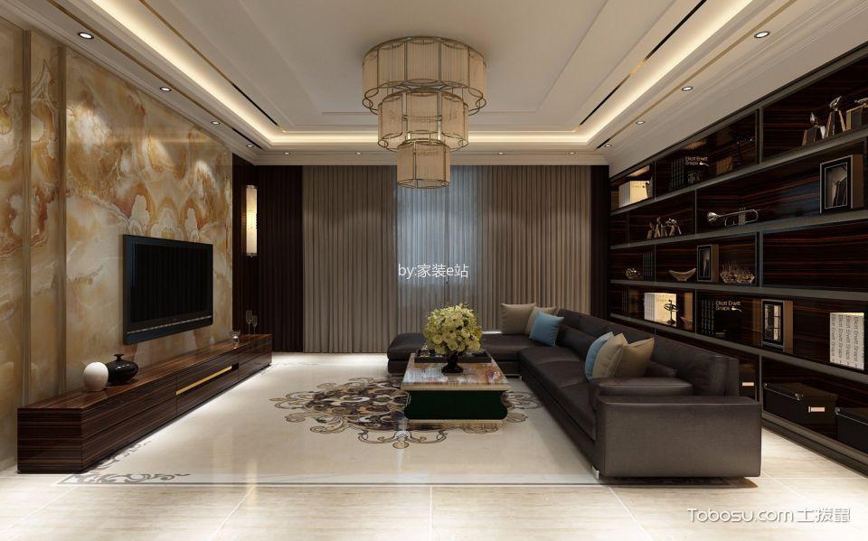 客厅黑色博古架古典风格装饰效果图