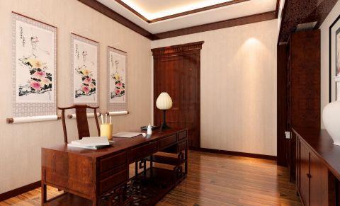华润中心凯旋门咖啡色300平米中式三室两厅效果图