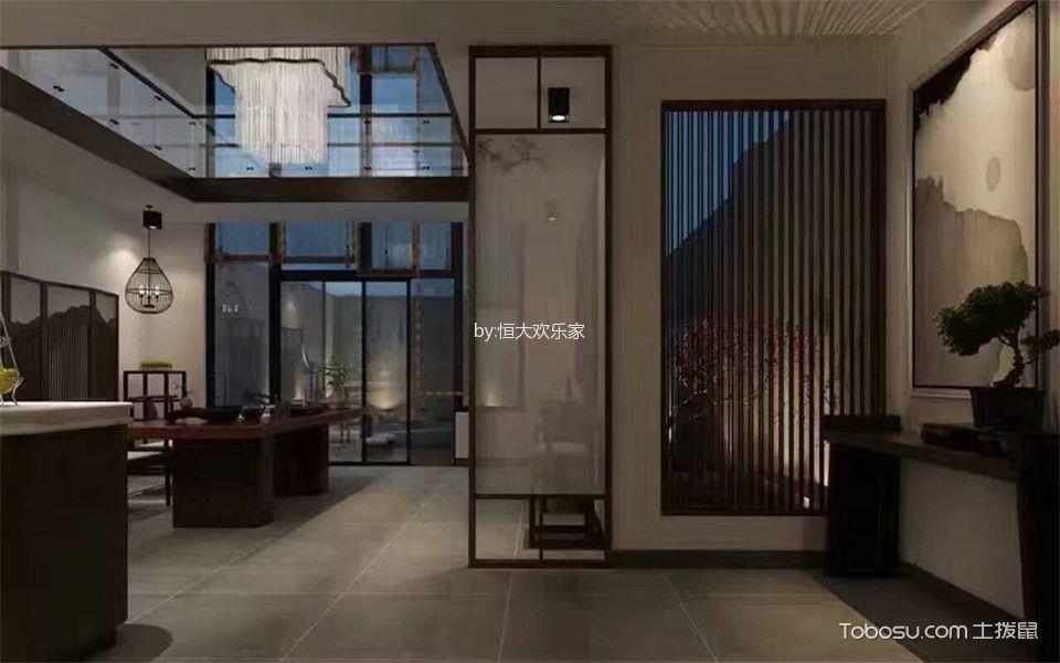 玄关灰色地砖新中式风格装饰图片
