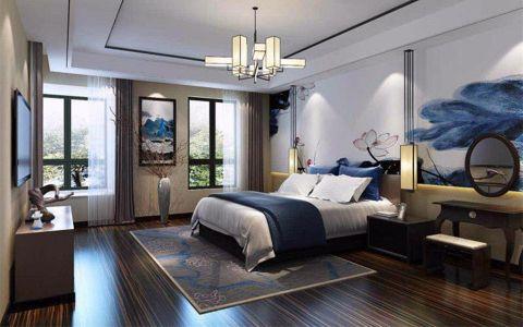 新中式的设计风格,软装也延续轻巧、轻便的理念。整体色彩采用的是青花瓷的感觉,既雅芝又不沉闷。