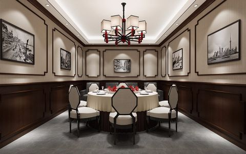 地下新中式风格美食城装饰效果图