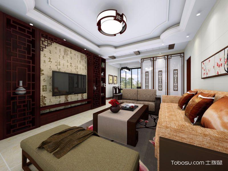 客厅 吊顶_东逸湾中式97平方米装修效果图