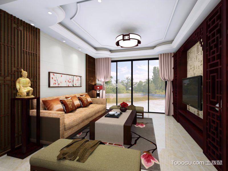 客厅 窗帘_东逸湾中式97平方米装修效果图