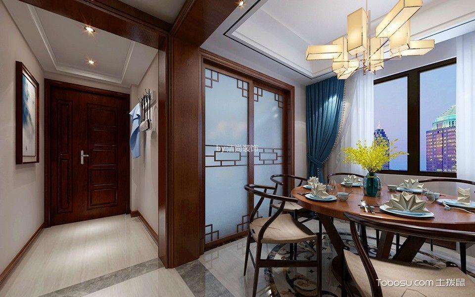 新中式餐厅窗帘效果图图片