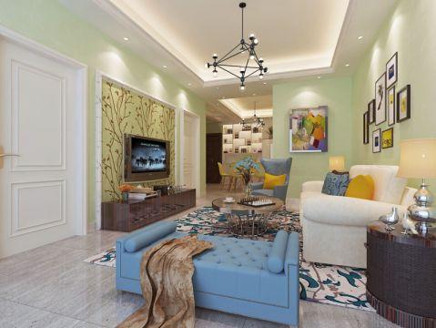 绿色80平米现代风格两室一厅装修效果图2017图片