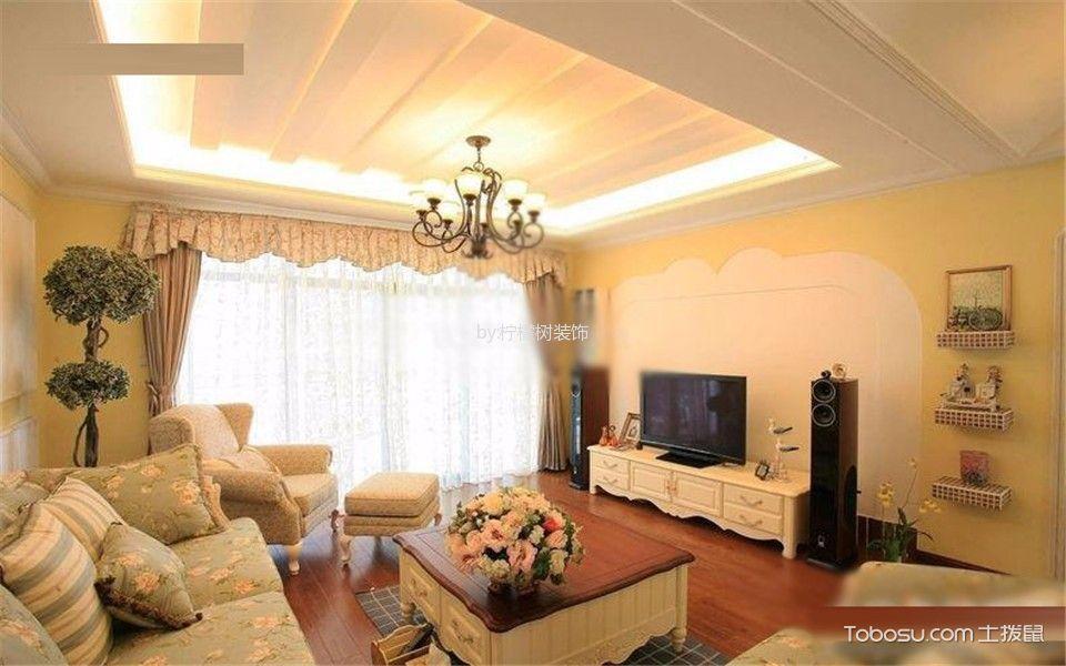 东方龙湖湾105平两居室美式田园风格装修效果图