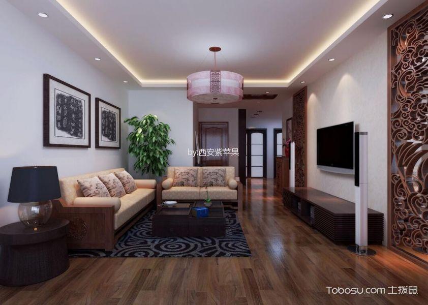 新中式风格120平米三室两厅新房装修效果图