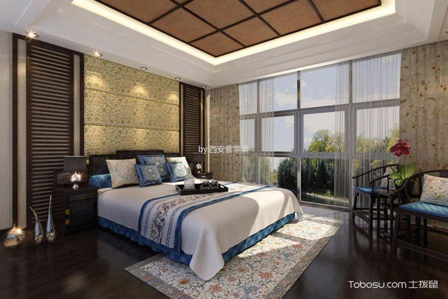 卧室黑色床新中式风格装潢设计图片