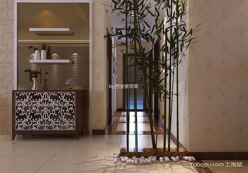 玄关黄色走廊新中式风格装修效果图