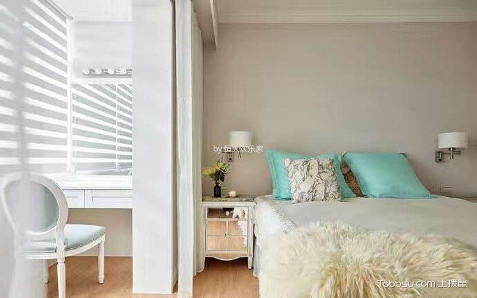 卧室白色床后现代风格装潢设计图片