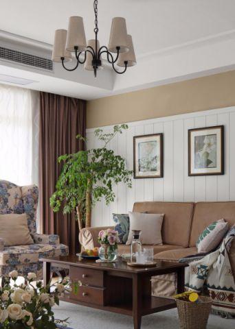 杭州融信蓝孔雀107平三居室美式风格装修效果图