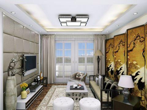 客厅吊顶简中风格装潢效果图