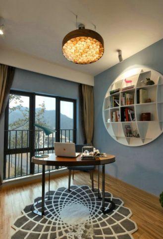 书房背景墙简约风格装潢效果图