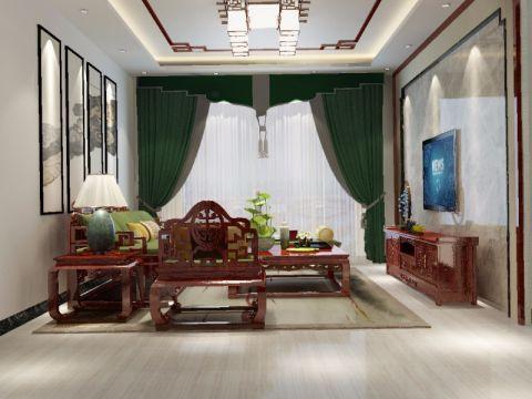 碧桂园新中式三居室效果图